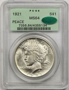 1921 High Relief Peace $1 PCGS OGH/CAC MS 64 Silver Dollar