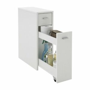 Mueble Auxiliar Lateral Con 1 Cajón Color Blanco Almacenamiento Baño ...