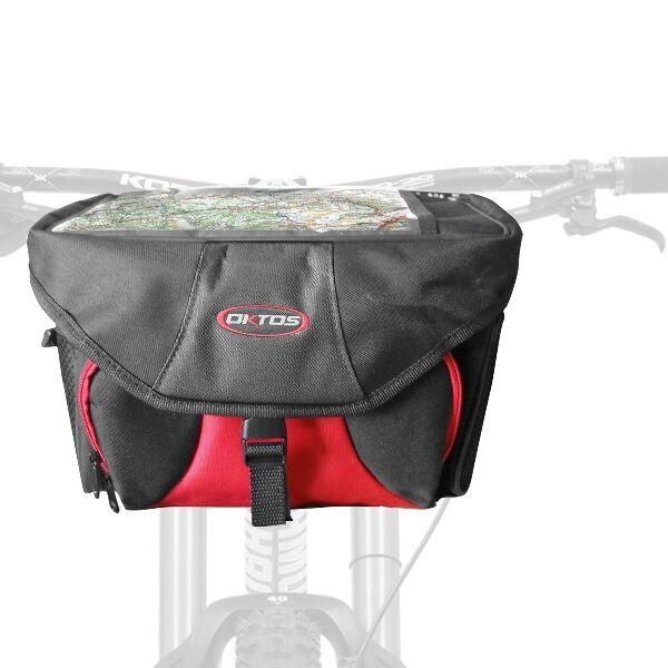 Bici Manubrio Borsa Oktos in Nero Rosso Rosso Rosso a Tracolla Scomparto Carte 695e02