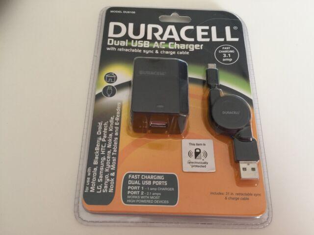 Duracell Doble USB Cargador de corriente alterna con sincronización y carga Cable Retráctil 3.1 Amp Nueva!