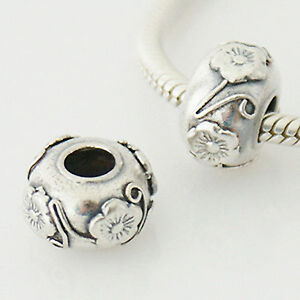 .925 Sterling Silver Inlaid Antique FLOWER BEAD For 3mm European CHARM BRACELET