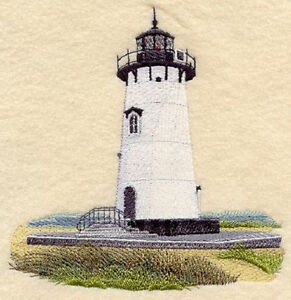 EDGARTOWN LIGHTHOUSE EMBROIDERED SET OF 2 BATHROOM HAND TOWELS BY LAURA