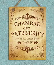 vintage retro style metal hanging sign French Chambre shop A4 tin wall plaque