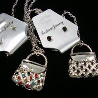 20 Silver Chain Necklace W/ 1.5 Crystal Stone Handbag Pendant+ Stud Earrings