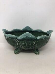 """Vintage Cookson Pottery USA CP-92 Planter Bonsai Pot 1950s Green 10"""" x 6"""""""