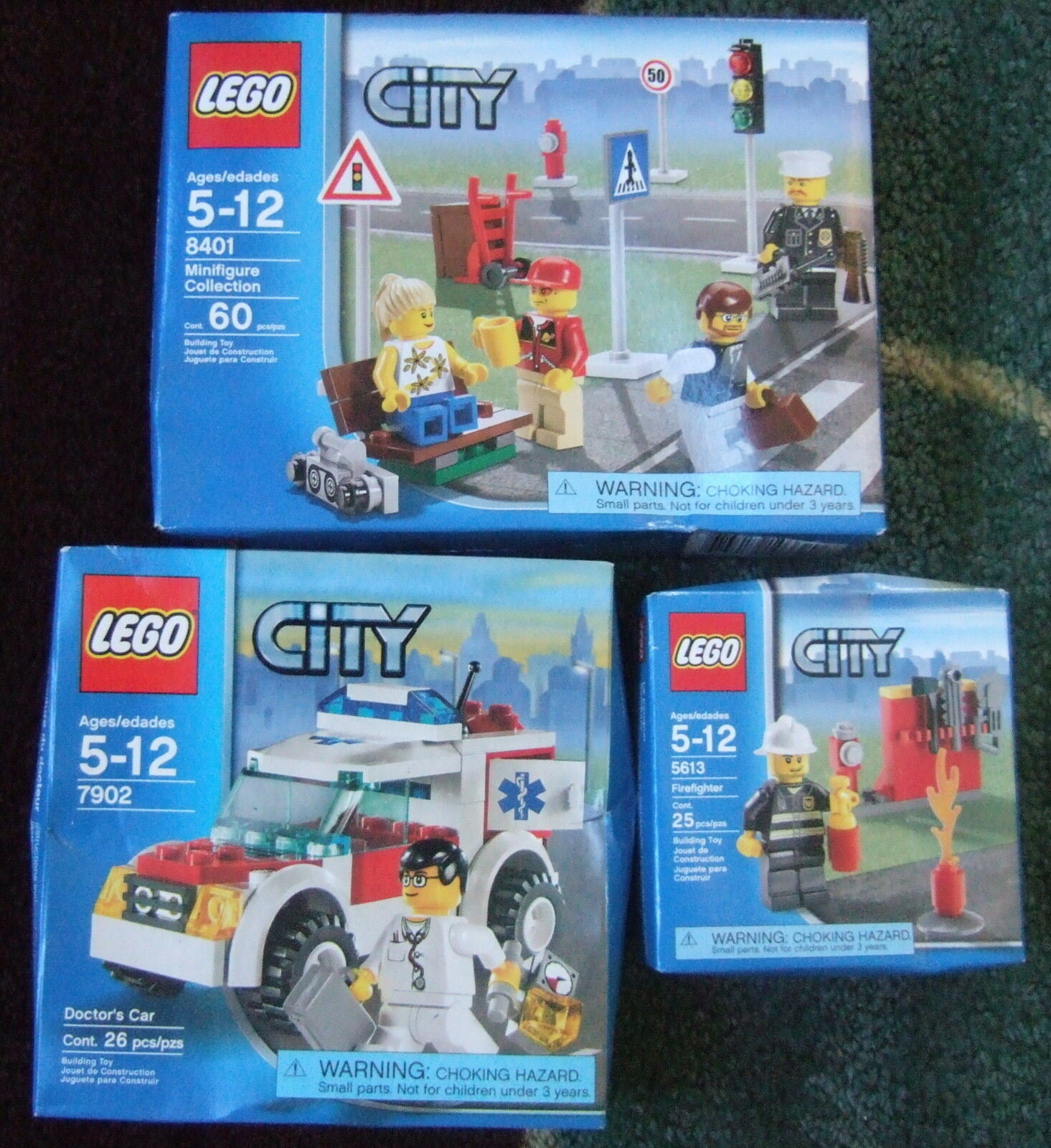 3 SEALED OLDER LEGO SETS FIREFIGHTER MINIFIGURES, DOCTOR'S CAR