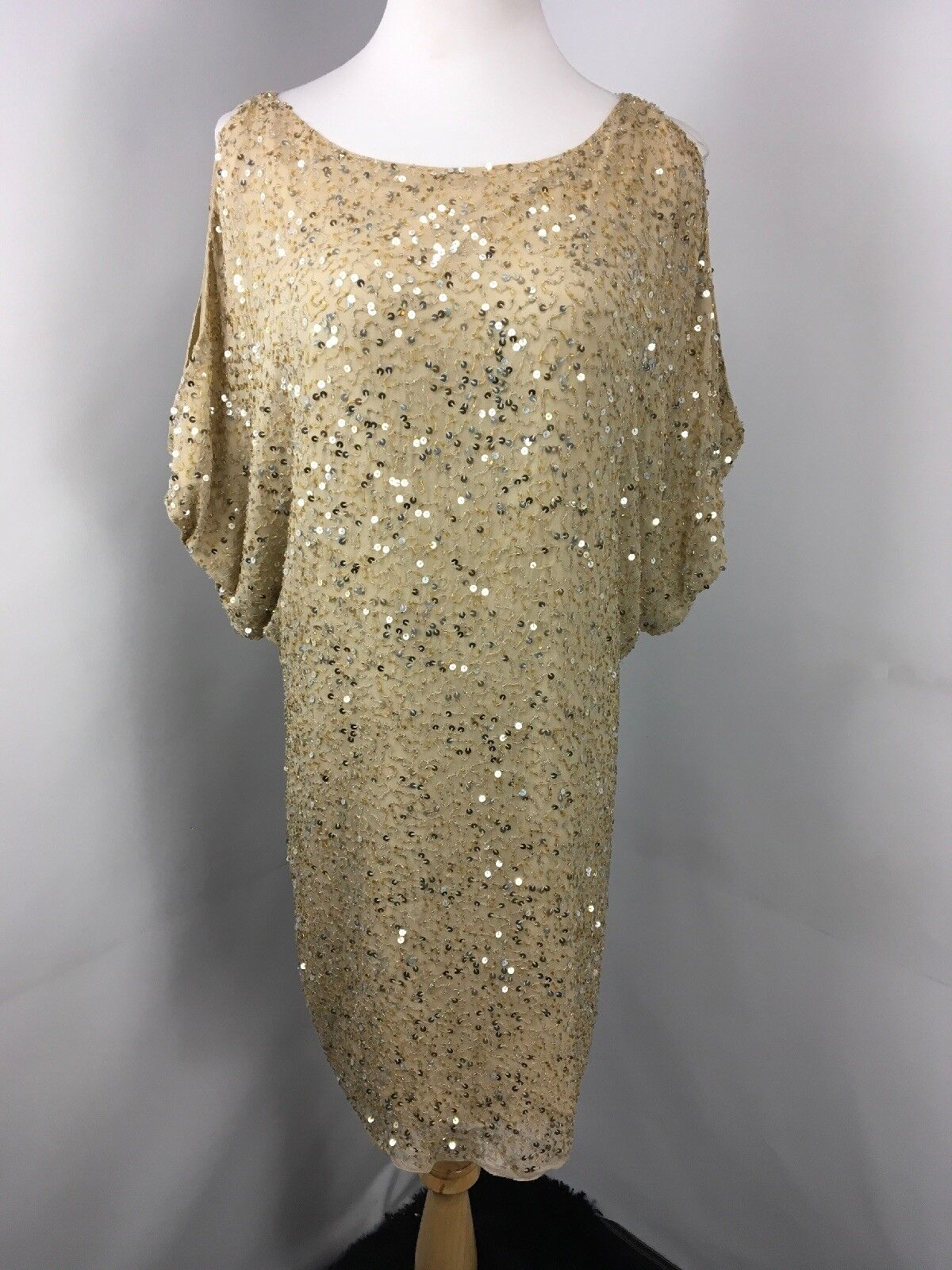 Cache Cache Cache gold Sequin Cold Shoulder Wiggle Blouson Sheath Dress Evening Party Silk 8 b4ead5