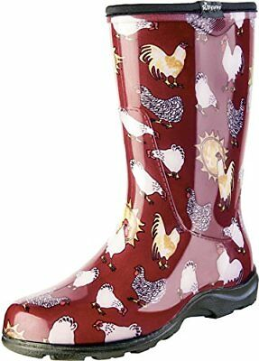 Betrouwbaar Sloggers Women's Rain & Garden Chicken Print Collection, Size7, Barn Red