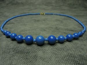 Beautiful-Vintage-Czech-Bohemian-Blue-Glass-Graduated-Round-Bead-Necklace