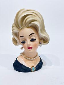 Vintage Lady Head Vase Napcoware C6985 Black Dress Green Gold Brooch Blonde Hair