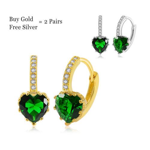 Fashion Luxury Hoop Earrings Women Heart Zircon Crystal Geometric Jewelry Gift