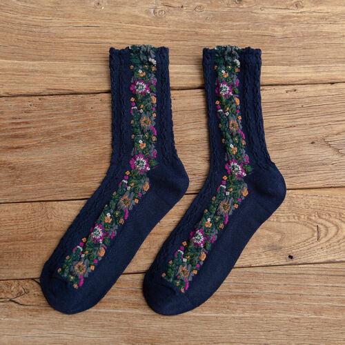 Socks Warm Mid Retro Cotton Embroidered Autumn/&Winter Women/'s Floral Stockings