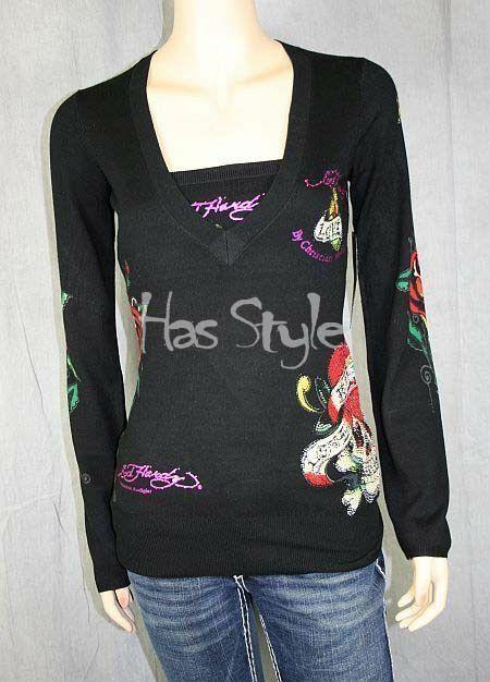 Ed Hardy 2pc túnica Camisa Sweater + tubo súperior  Corazones Nuevo Con Etiquetas  compras de moda online