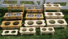 DOG BONE WOOD FEEDER Amish Handmade Elevated with 2QT Paw Print Bowls EXTRA TALL
