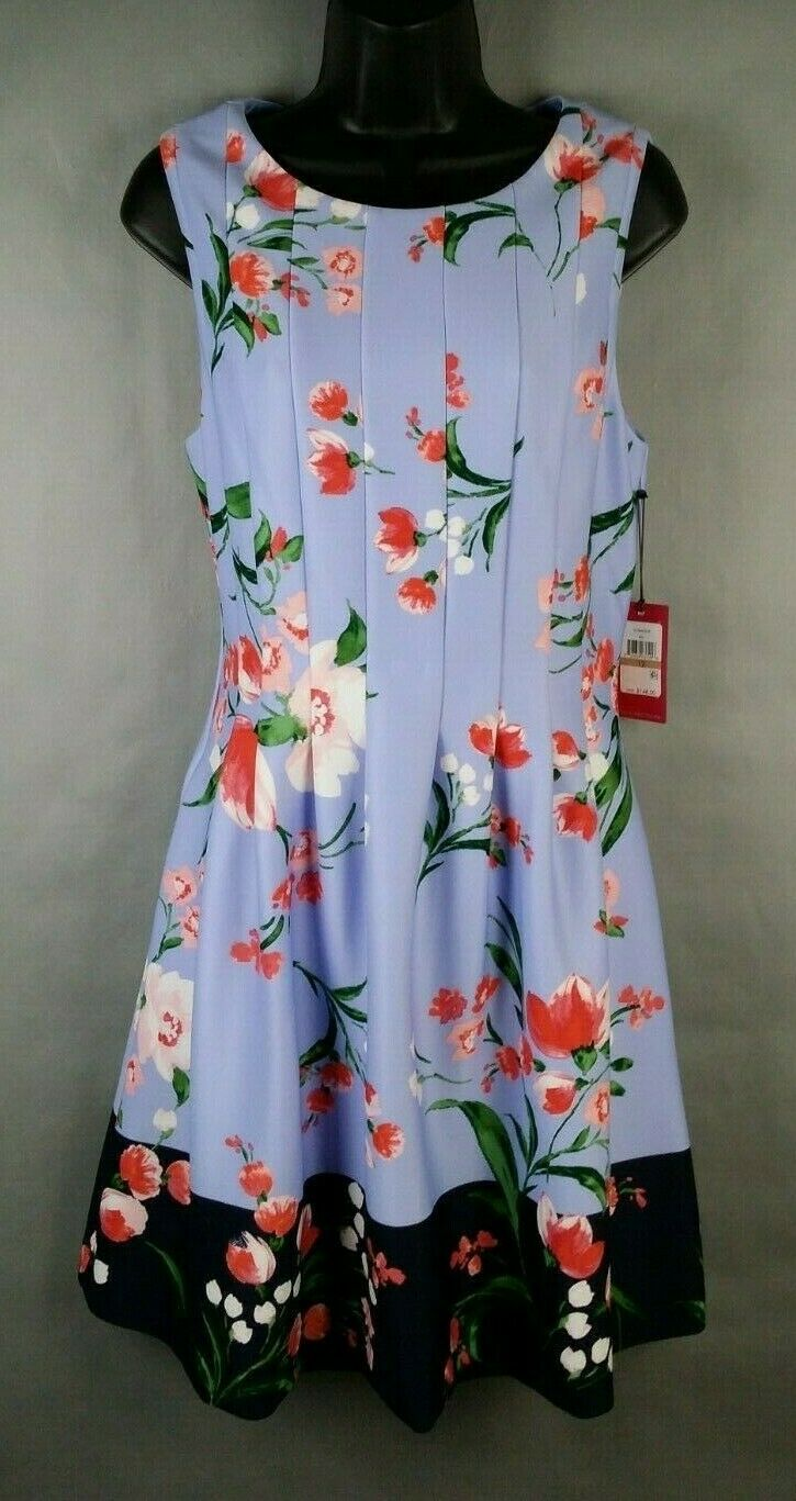 NWT NEW Vince Camuto  Spring Floral Multi color bluee Flower Dress Size 12