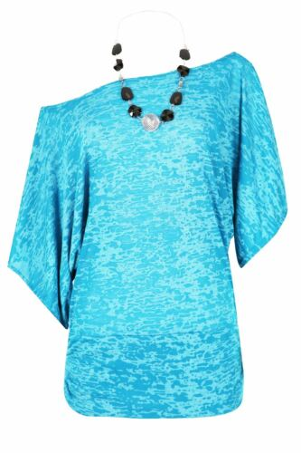 Ladies Womens Oversized Ruched Batwing Curved Hem Necklace Top Baggy Dress