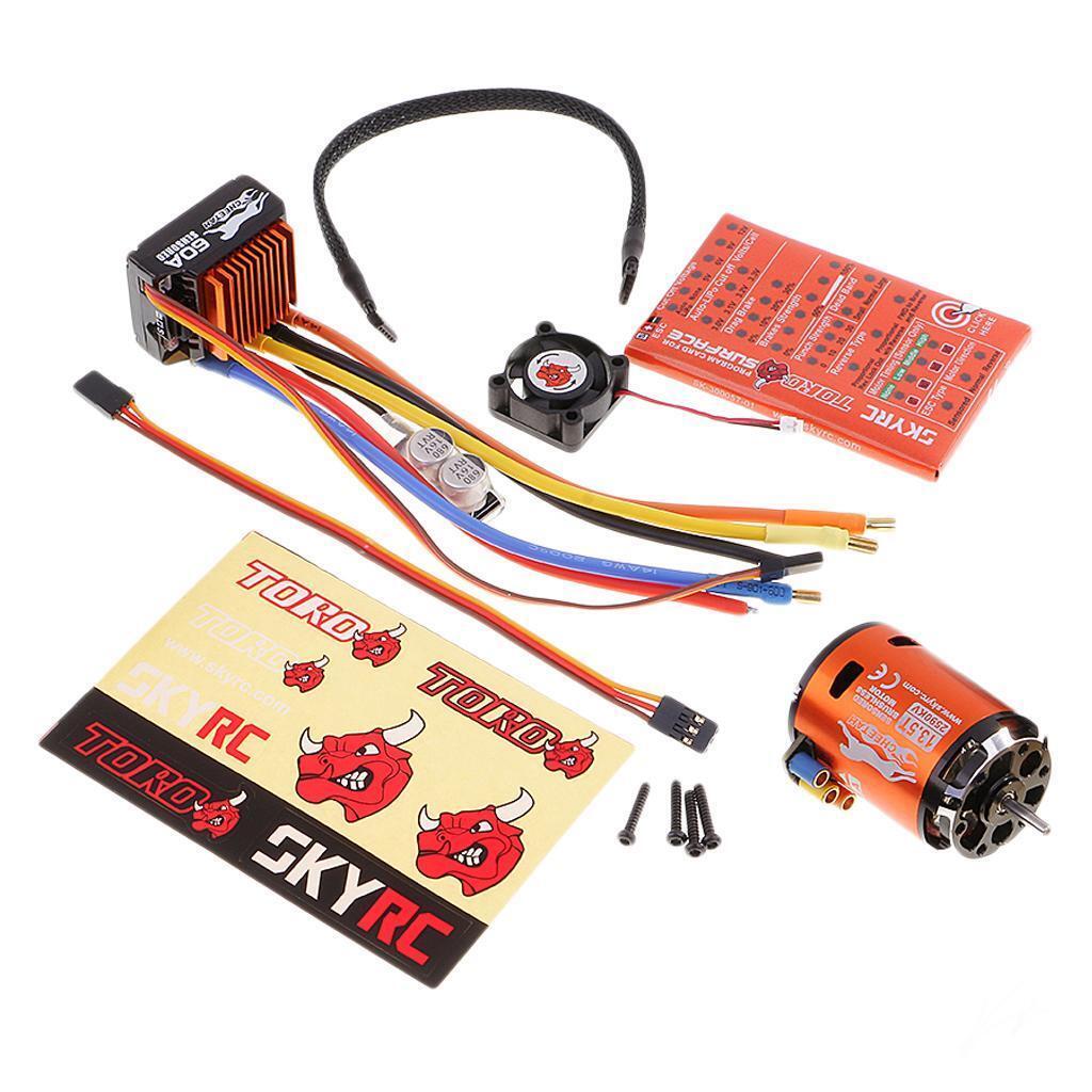 Cheetah 2590KV 13.5T Sensorosso Brushless Motor + 60A ESC con LED Program Card