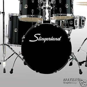 2x Slingerland Logo Autocollant Decal-bass Drum Head Peau Drums Kit Percussion Mur-afficher Le Titre D'origine Ture 100% Garantie
