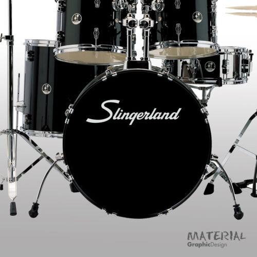 Bass Drum Head Skin Drums kit Percussion Wall 2x Slingerland Logo Sticker Decal