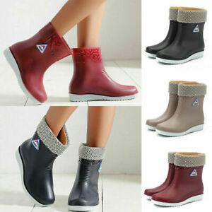 Ladies Womens Winter Warm Rain Flat Chelsea Ankle Wellies Wellington Boots Shoes