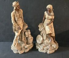 Pair 19th Antique French Orientalist Terracotta Figurine/Statue/sculpture marked