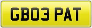 GB03-PAT-CHEAP-PRIVATE-CAR-REG-NUMBER-PLATE-PATRICK-PATRICIA-NO-HIDDEN-DVLA-FEES