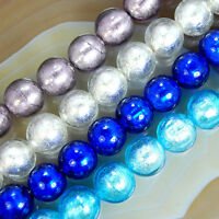 12mm Silver Foil Lampwork Glass Round Beads 16pcs Pick Color