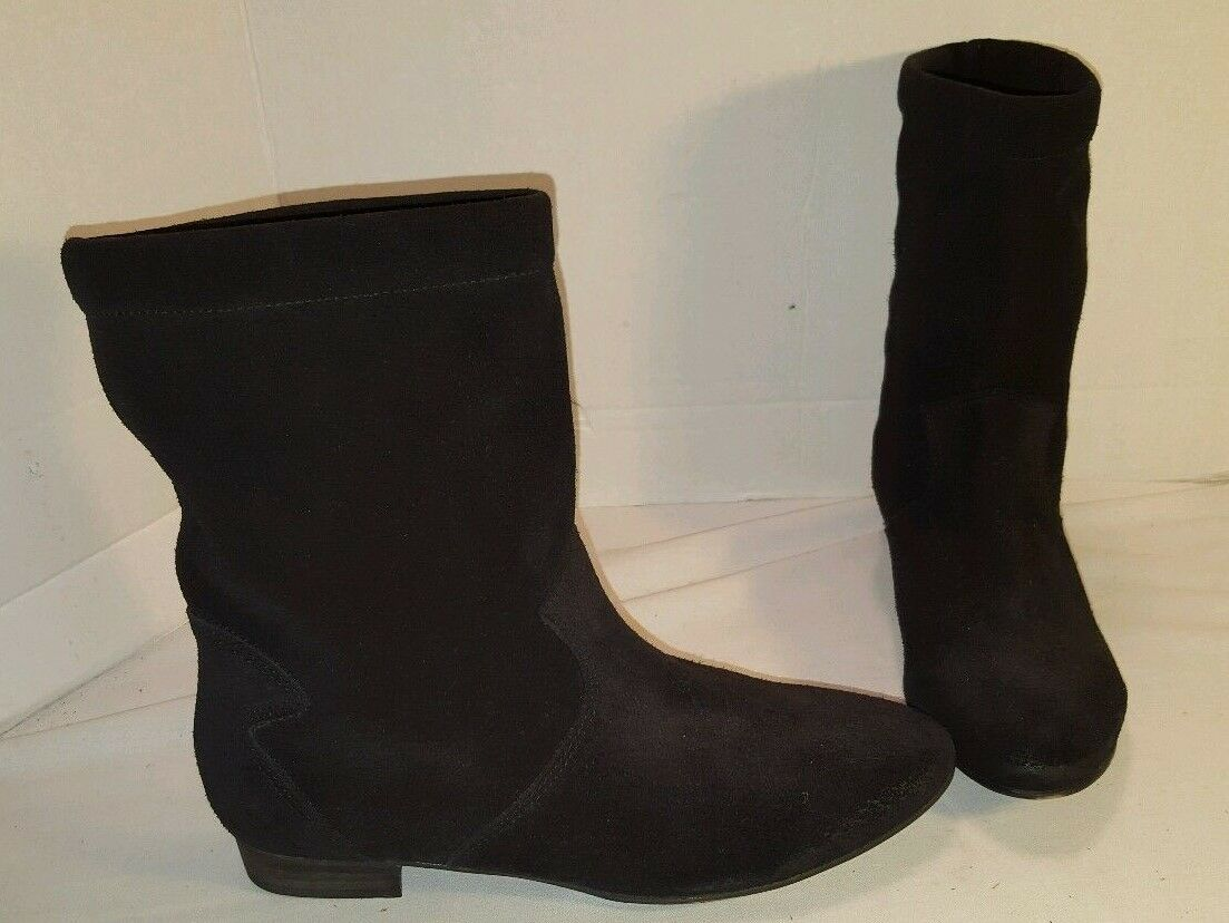 ANTHROPOLOGIE FREE PEOPLE ASHVILLE BLACK SUEDE SLOUCHY ANKLE BOOTS US 9