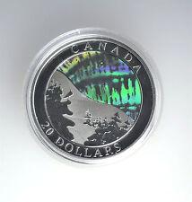#7132- Holographic Auroa Borealis - Canada 2004-$20 Silver Coin- Northern Lights