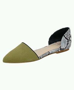 Andrew Stevens Dakota D'orsay Flats Olive Black White Sz 6.5 Canvas Leather 9