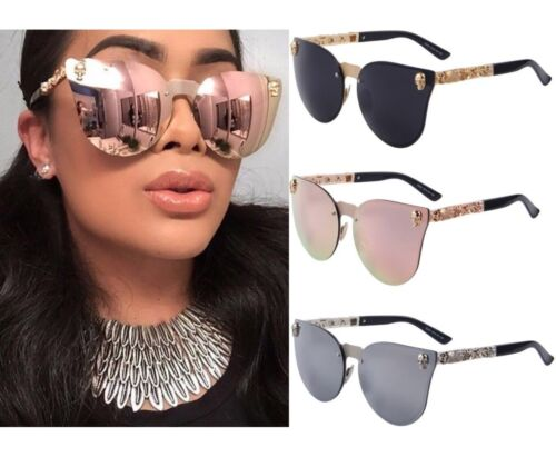 ROSE GOLD SKULL Pink MIRRORED Reflective AVIATOR SUNGLASSES Celebrity .10