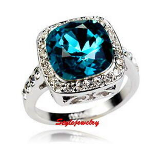 c4ae20a7c Image is loading 18k-White-Gold-Plated-Blue-Topaz-Engagement-Crystal-