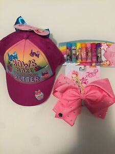d5456b49a Details about JoJo Siwa Baseball Cap Hat + Large Pink Hair Bow + 7-Pack  Flavored Lip Balm new~