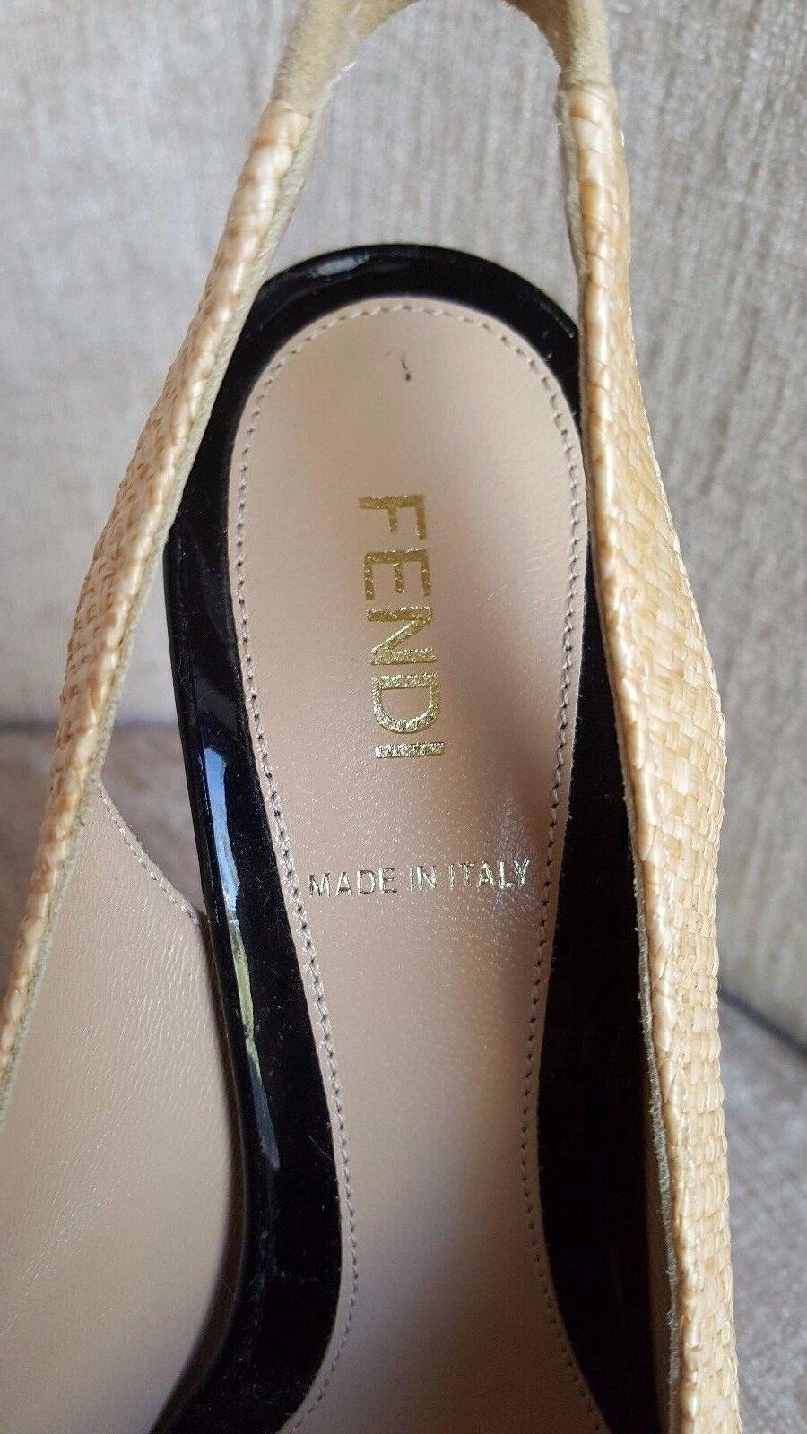 Fendi Beige Woven 'Raffia' Peep Toe Toe Toe Pumps Größe 6.5   36.5 Authentic -  850 3c0a3e
