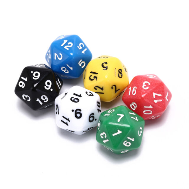 6pcs/set games multi sides dice d20 gaming dices game playing mixed color hg MWC