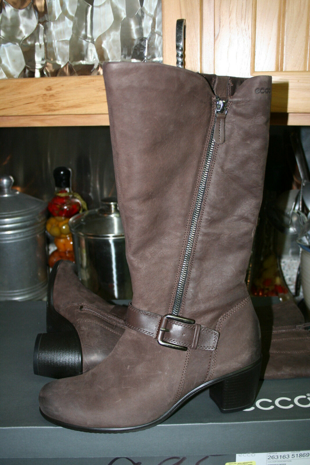 ECCO TOUCH 55 B HIGH CUT CAFE ZIP COFFEE CAFE CUT  SIZE 40/9-9.5  M 239 NEW Stiefel 192e79