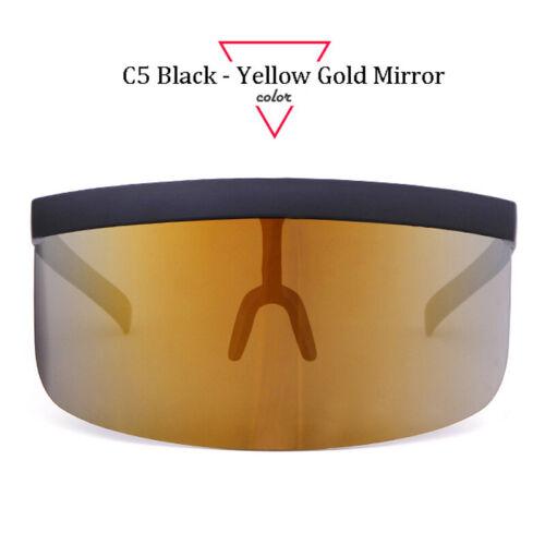 Women Oversize Shield Visor Sunglasses Windproof Glasses Flat Top Modern Vision