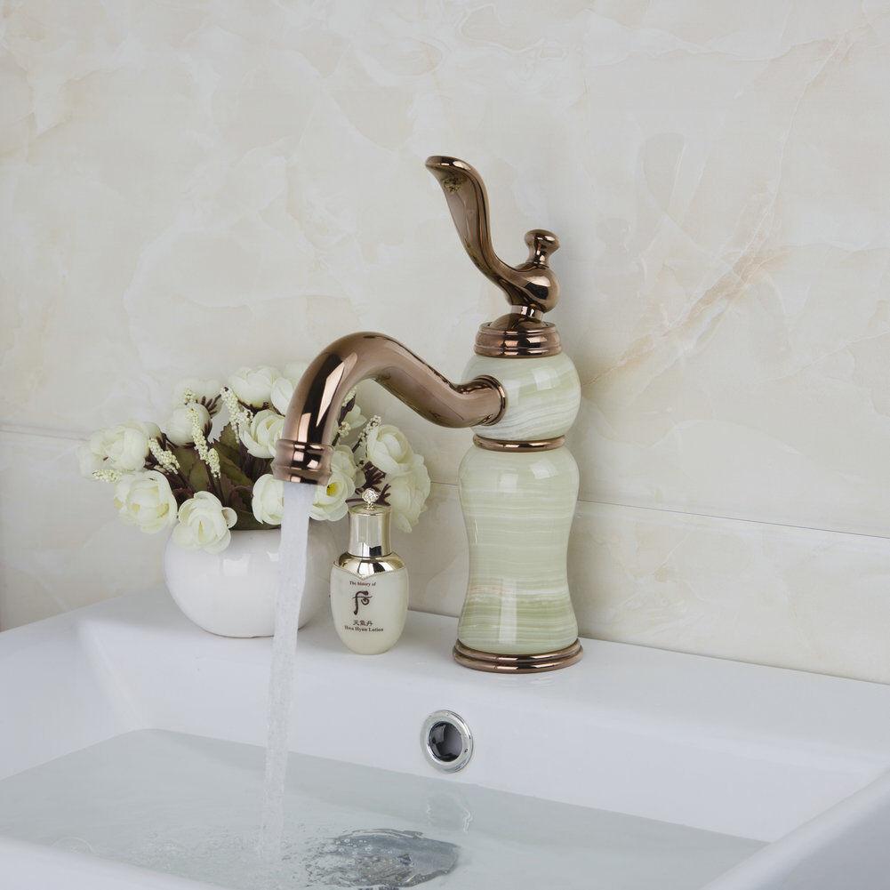 Or Rose Poli Salle De Bain Mixer Pont Monté en céramique corps vanne robinet d'évier