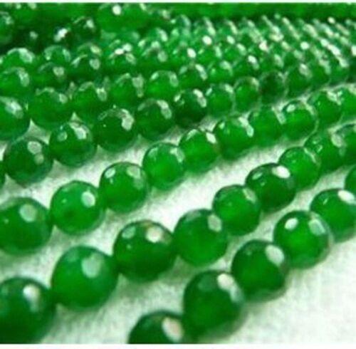"""8 mm Natural Verde Esmeralda Facetado Piedra Suelta Perlas 15/"""" PL284"""