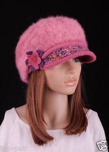 90aa6da9f30 M140 Pink Rabbit Fur Wool Brim Hat Women s Winter Beanie Newsboy Cap ...
