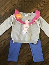 NWT Gymboree girl blue gray bird sweater glitter leggings 2-piece SET 18 24 2 2T