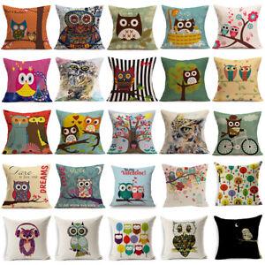 "18/"" Elephant Owl Pattern Pillow Case Linen Waist Throw Cushion Cover Home  Decor"