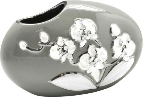 Moderne Deko Vase Blumenvase Tischvase aus Keramik grau//weiß//silber 25x16 cm