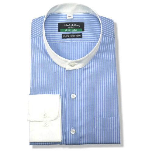 Peaky Blinders Band collar Mens Cotton shirt Blue White stripe Nehru Mandarin