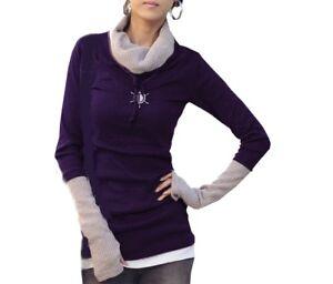 2 in 1 Optik Pullover Sweatshirt Pulli Oberteil Longshirt  Strickjacke S M L XL