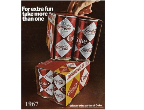 Magnet Coke Cola Diamond Can Soda Ad 1967  NEW Refrigerator Tool Box