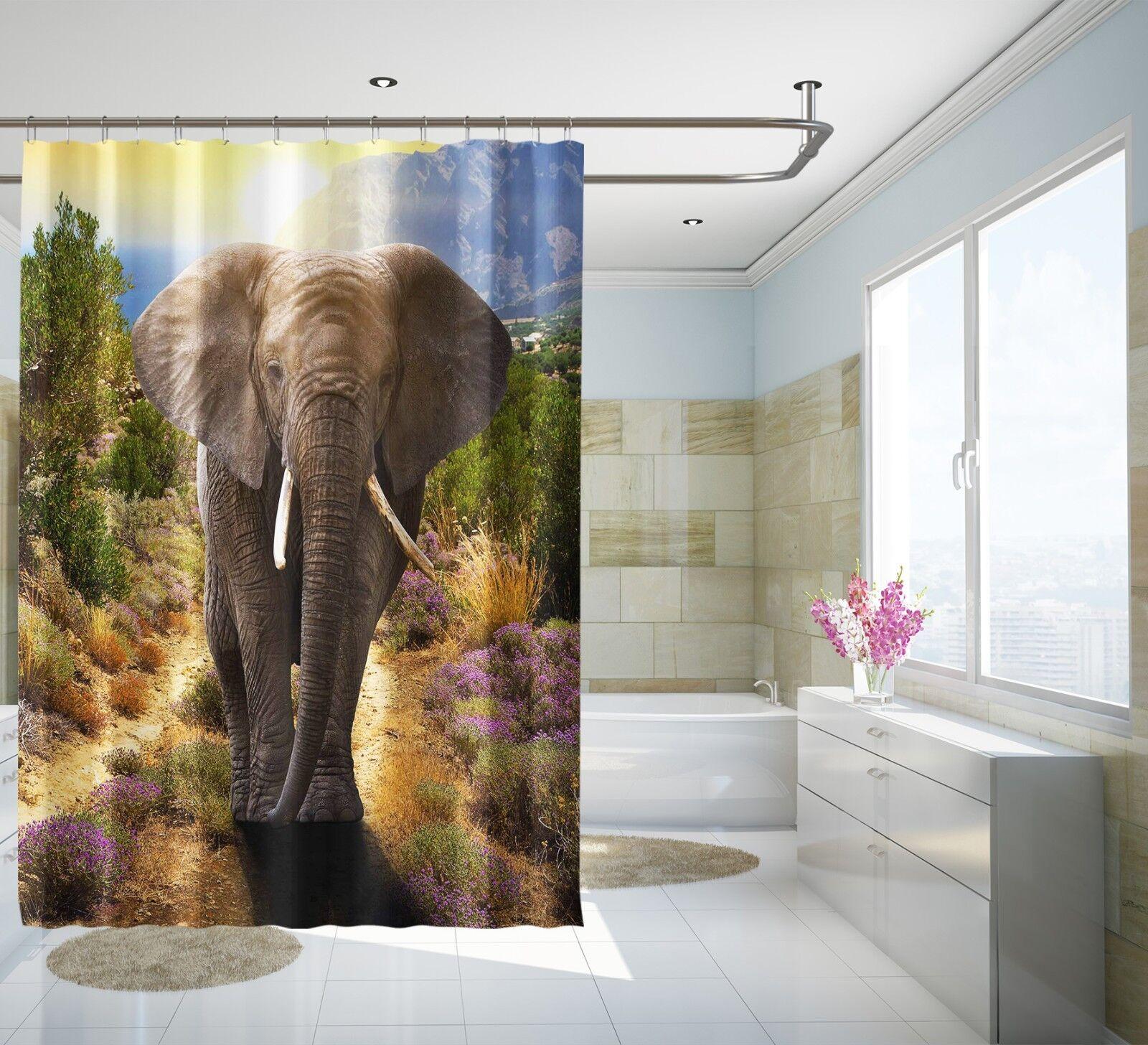 3D Elefante OFFERTA 2 Tenda da doccia IMPERMEABILE Fibra Bagno WC CASA FINESTRE