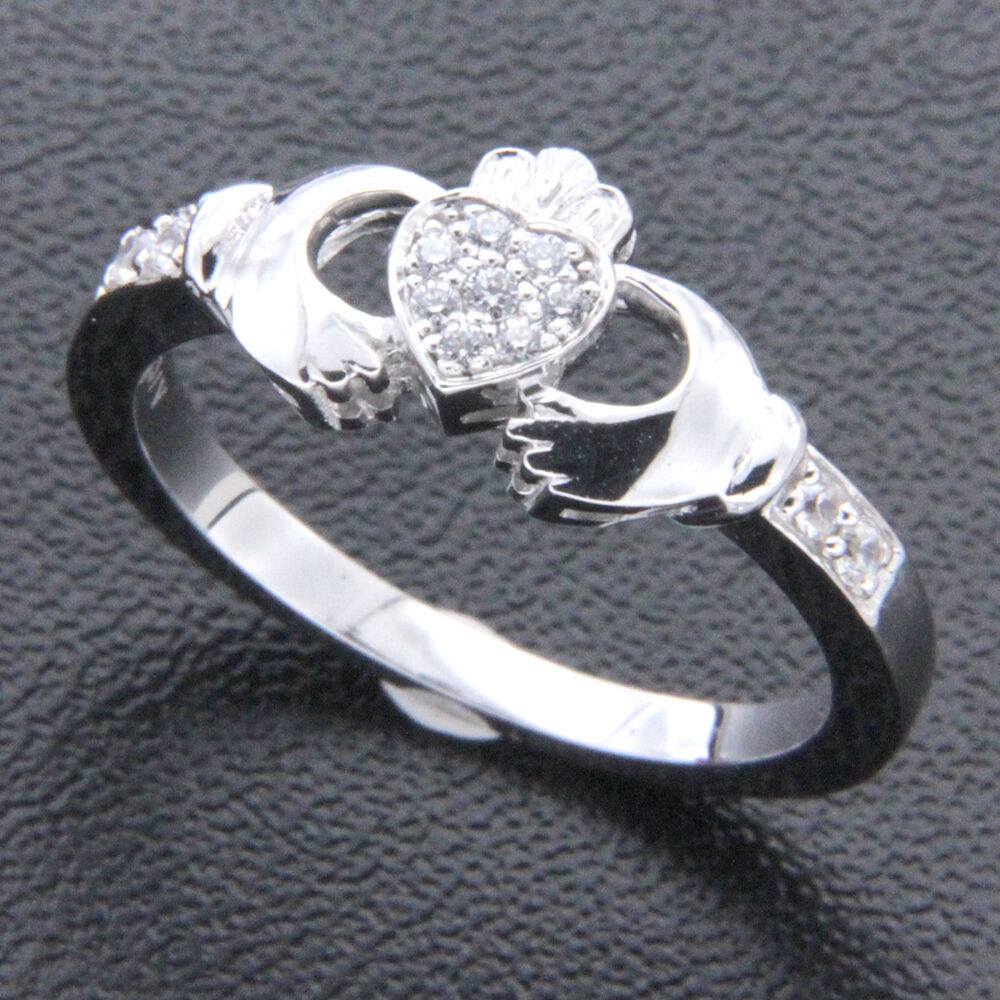 0.10 ct Brilliant Cut Natural Diamond Solid 14k White gold Claddagh Ring Size 6