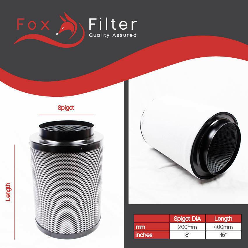 Hidroponía Fox Filtro de Cochebón 8 pulgada (200mm X 400mm) Interior Grow Tent luz de crecimiento