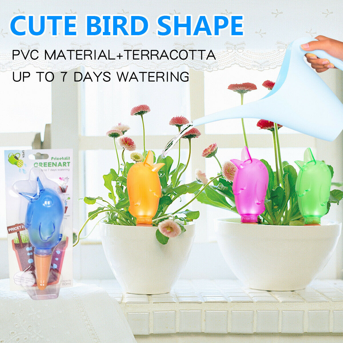 Automatic Self Watering Device for Outdoor Plants Bird Shaped Plant Waterer Vacation Drip Irrigation Watering Stakes for Indoor /& Outdoor Plants Blue Plant Self Watering Spikes Devices